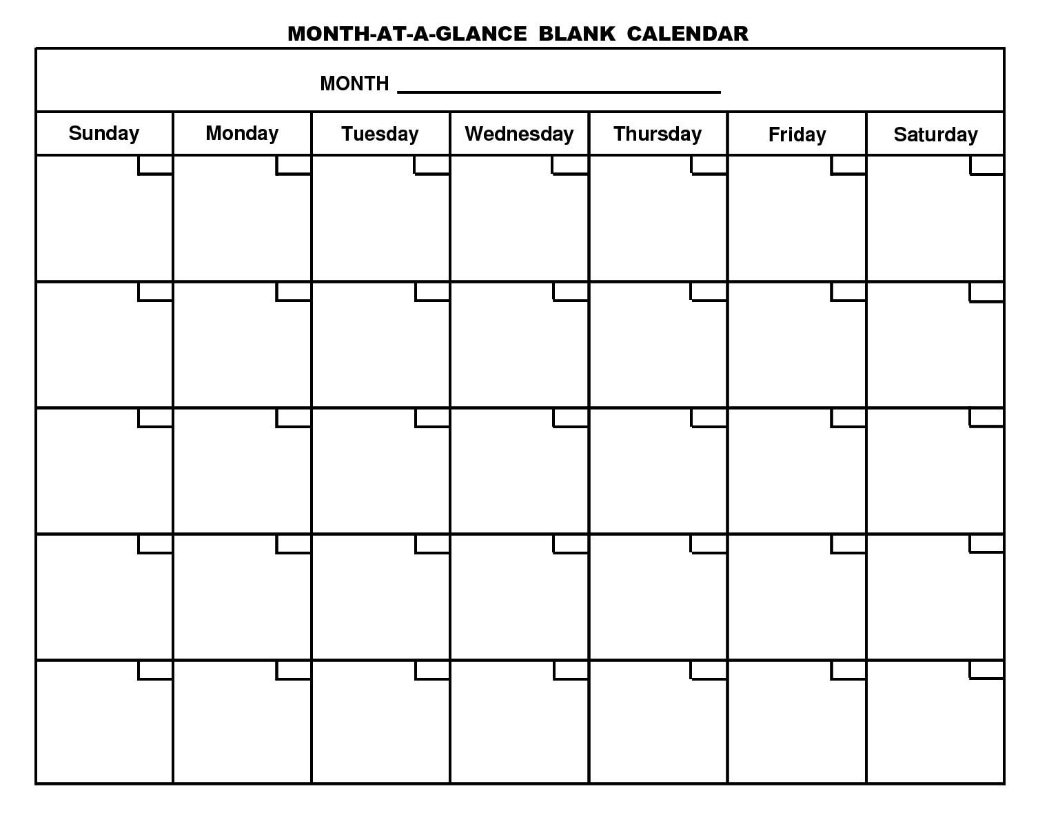 Monthly Calendar Template Uxdjxg In Month At A Glance Blank