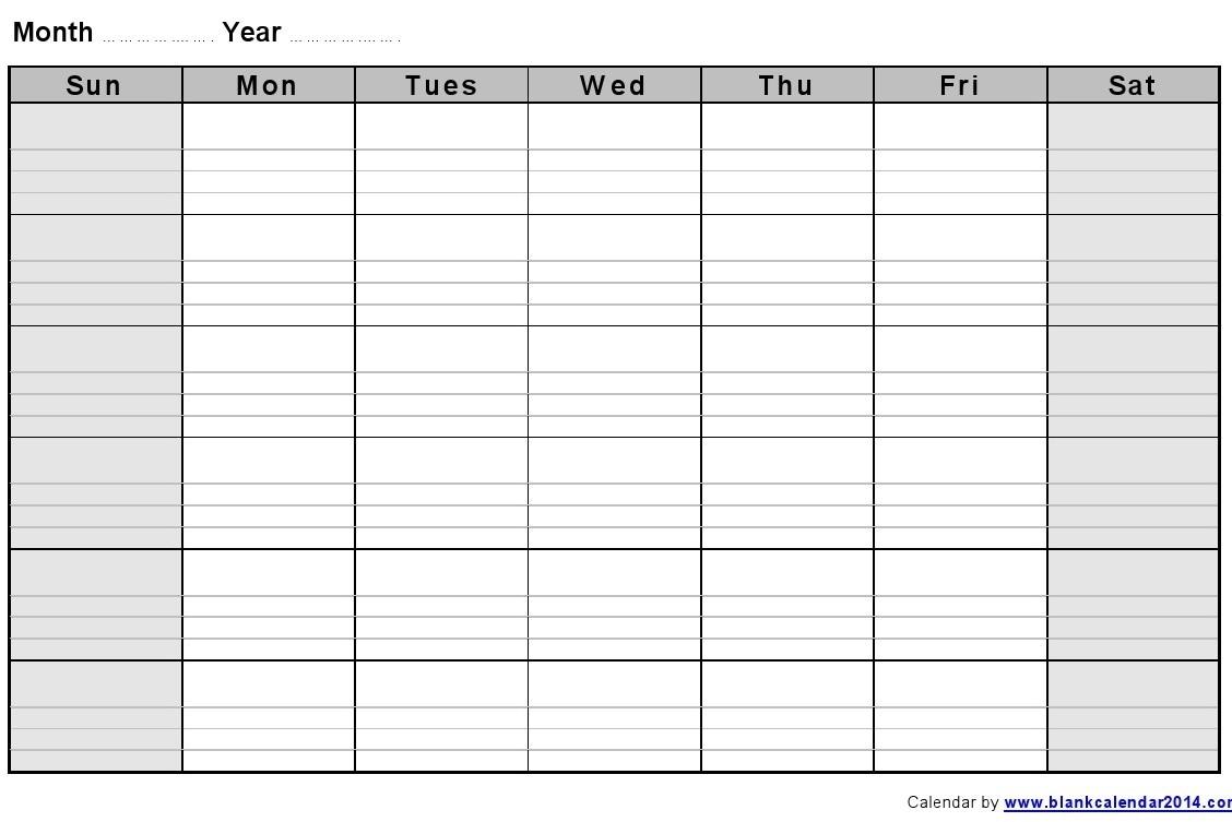 Monthly Calendar With Lines – Calendar Printable Week