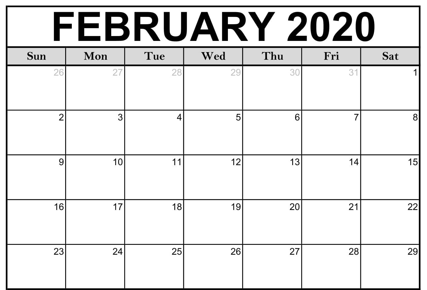 Monthly February 2020 Calendar Printable Template