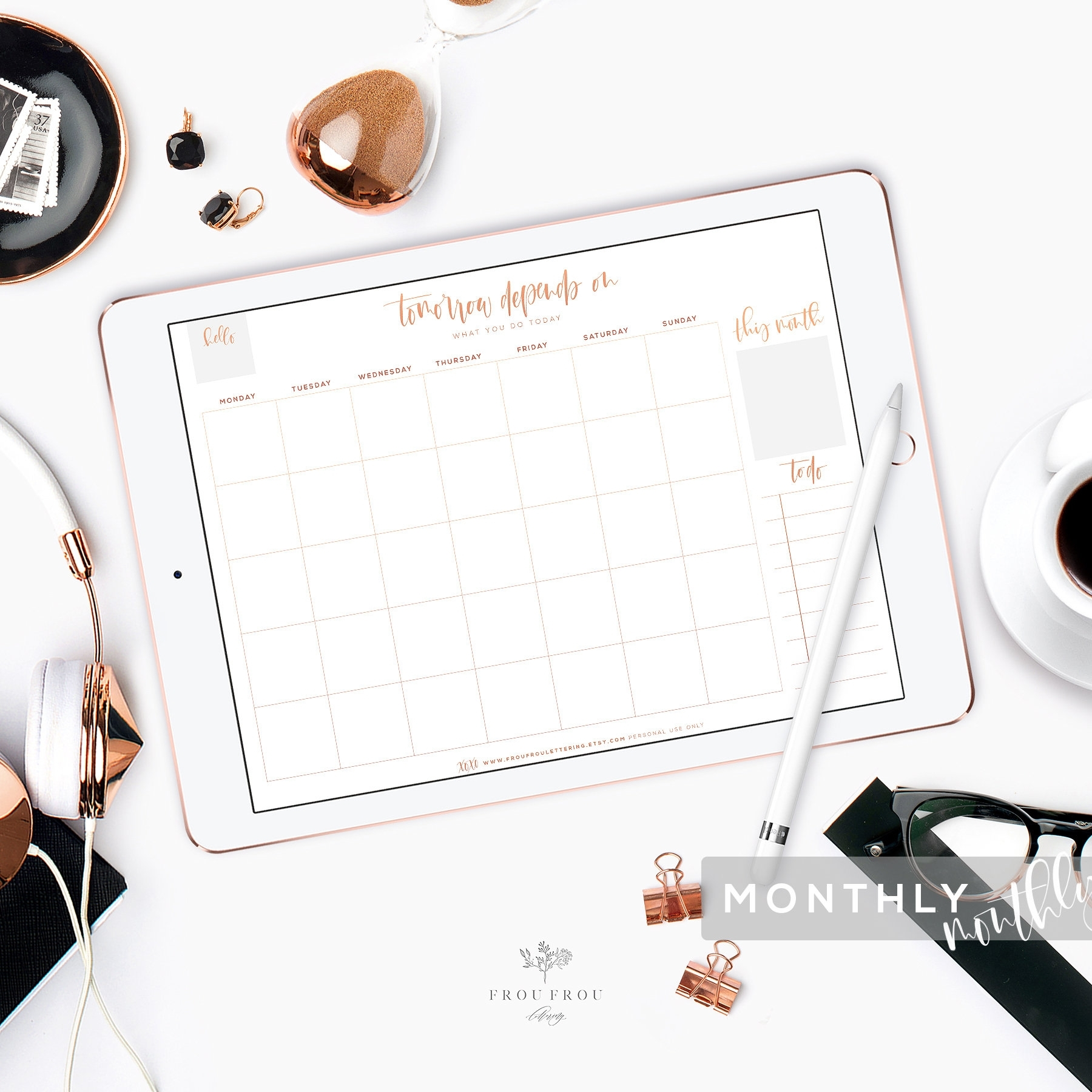 Monthly Planner Rose Gold Undated Calendar Ipad Pro Goodnotes Printable To  Do List Digital Organizer Month Daily Weekly Inserts Dashboard