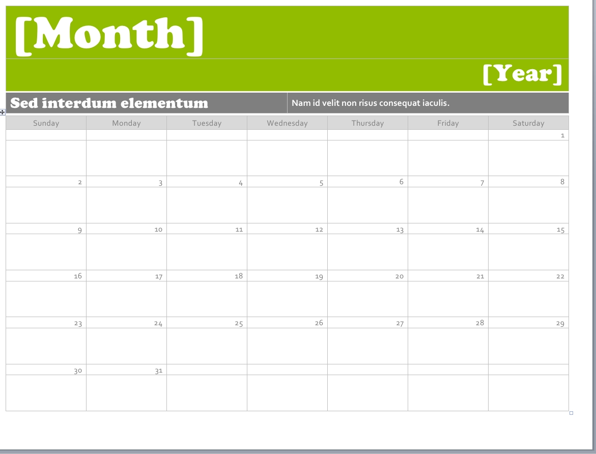Ms Word Calendar Templates | Printable Calendar Template