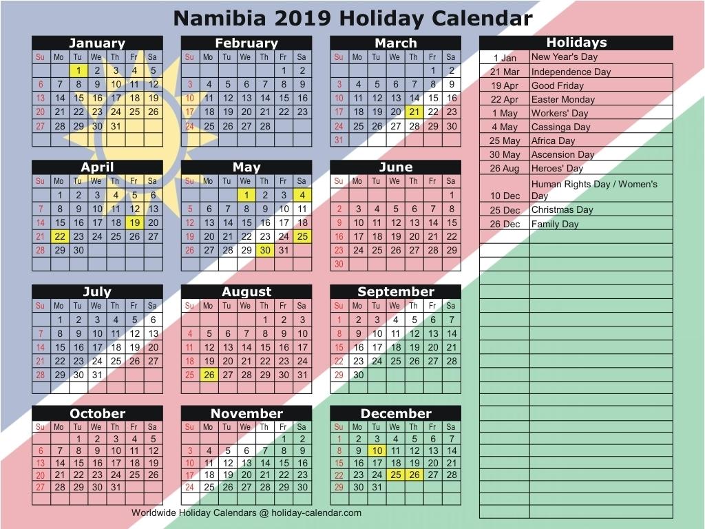Namibia 2019 / 2020 Holiday Calendar