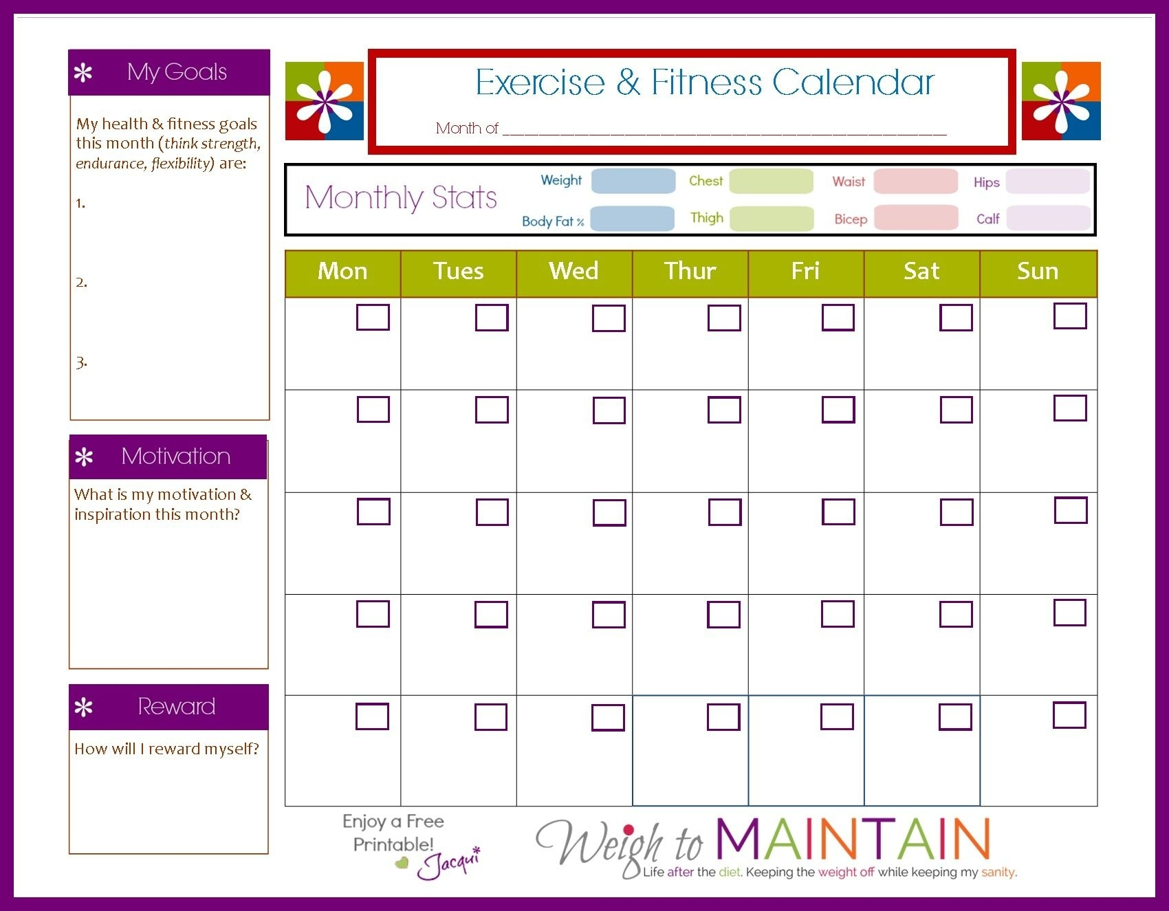 New And Improved Printable Fitness Calendar | Workout
