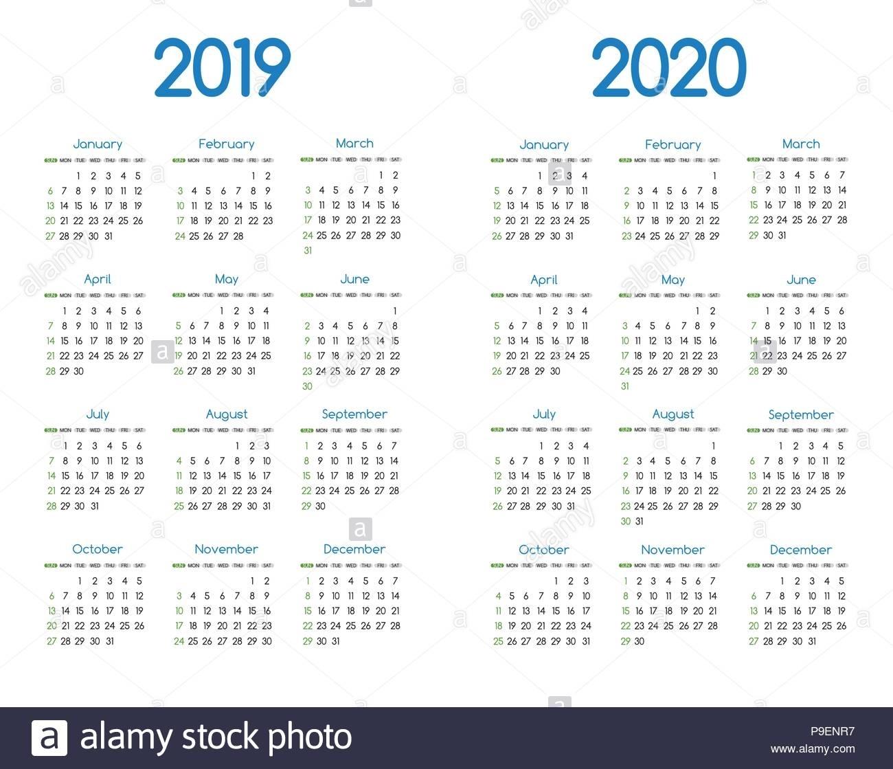 New Year 2019 And 2020 Vector Calendar Modern Simple Design