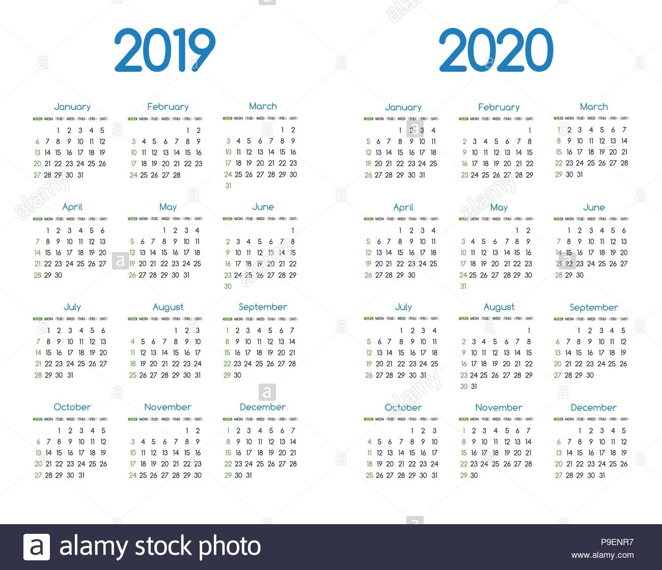 New Year 2019 And 2020 Vector Calendar Modern Simple Design