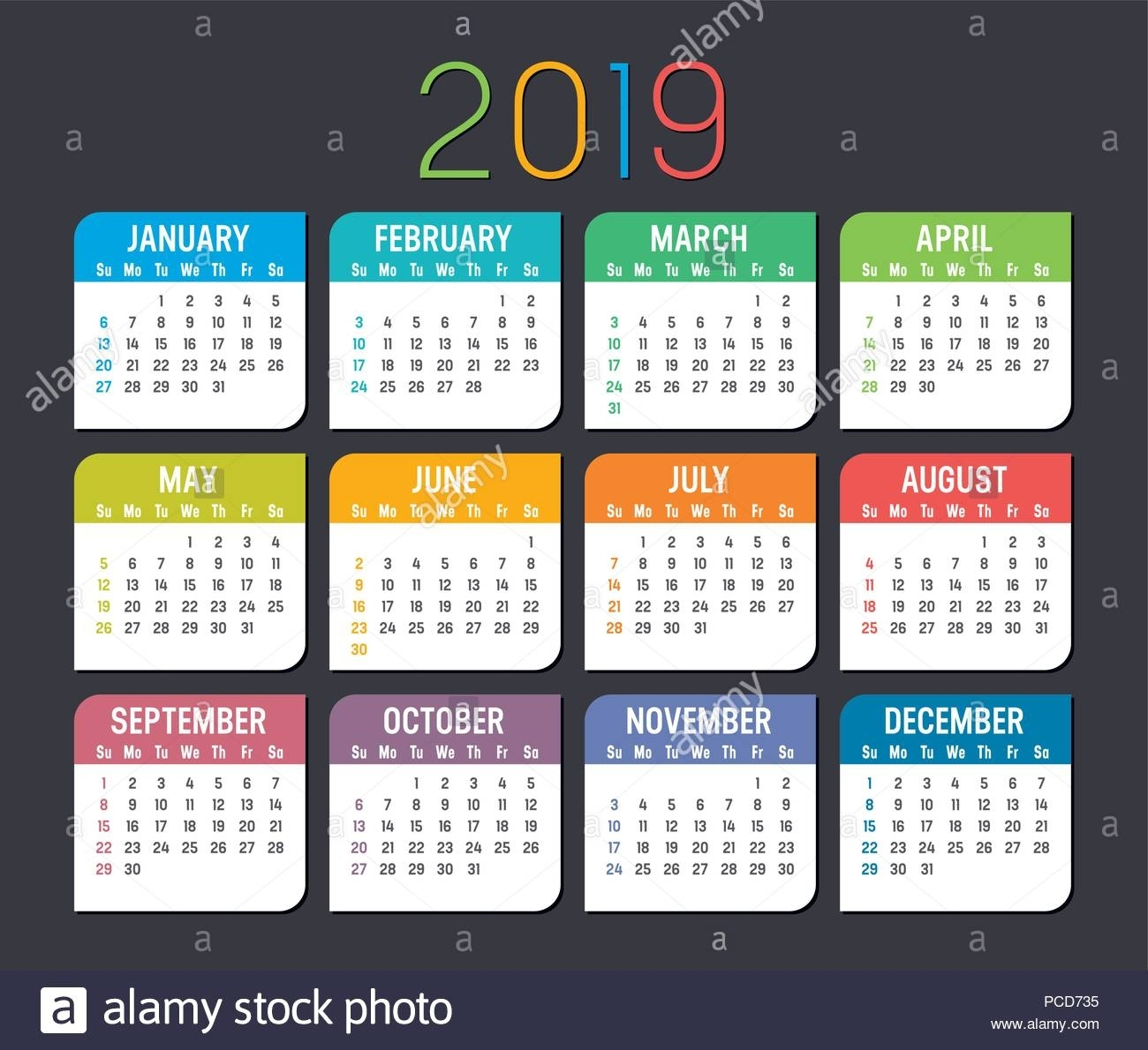 New Year Colorful Calendar | Scroll Wallpapers