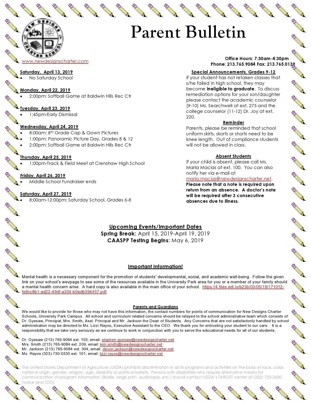 Newsletters - Schools - New Designs Charter Schools