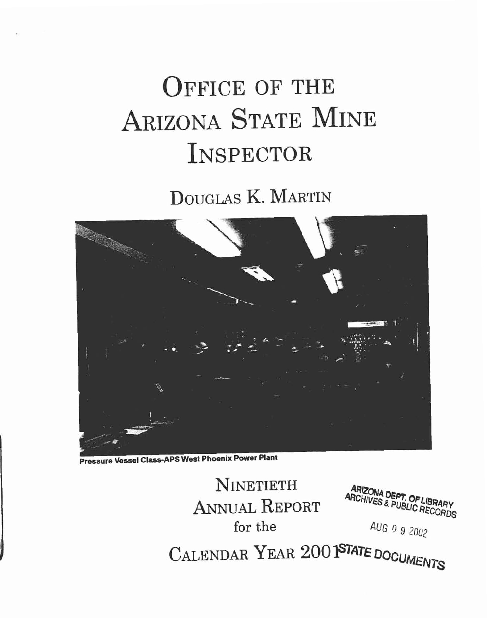 Ninetieth Annual Report For The Calendar Year 2001 - Arizona