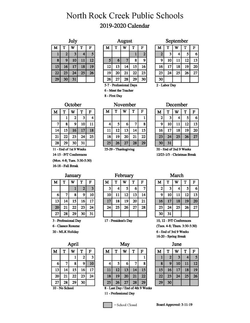 North Rock Creek Public Schools - 2019-2020 School Calendar