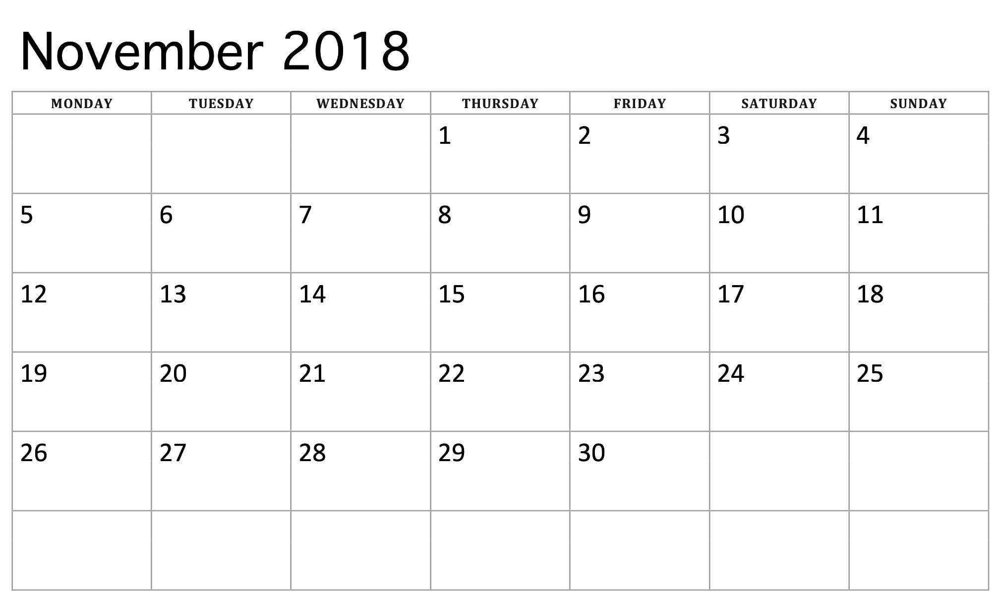 November 2018 Calendar In Spanish | November Calendar