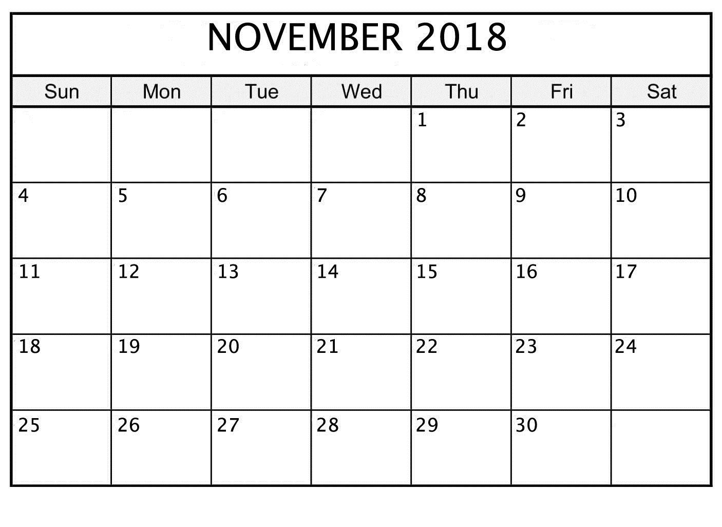 November 2018 Printable Calendar Date And Time | November