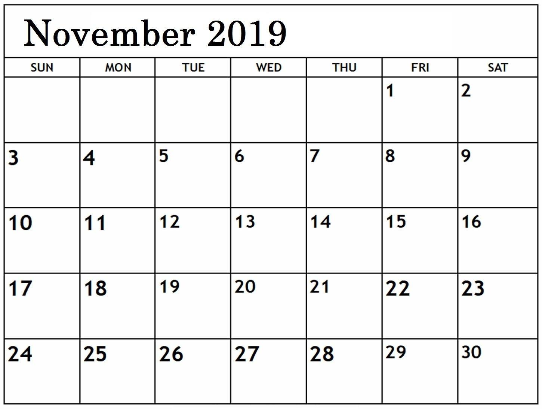 November 2019 Blank Calendar Editable | Printable Calendar