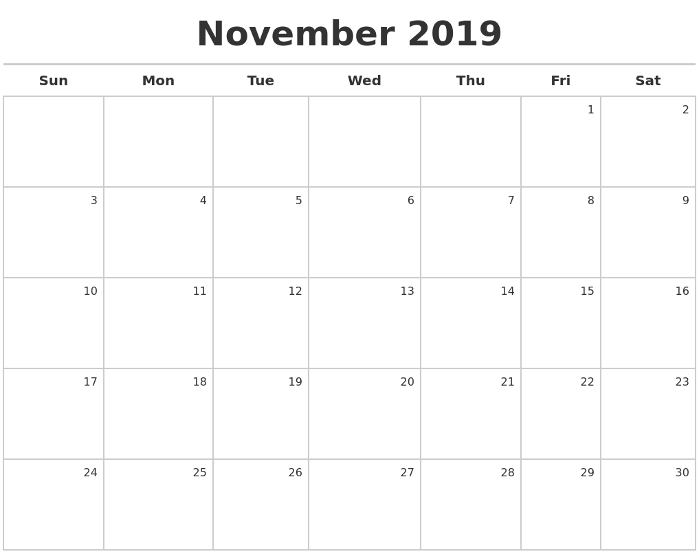 November 2019 Calendar Free Download | Calendar 2019