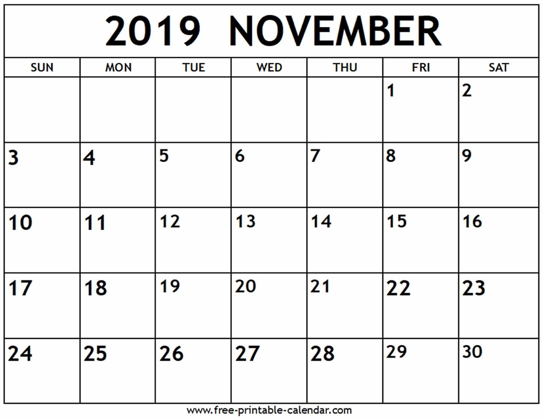 November 2019 Calendar - Free-Printable-Calendar