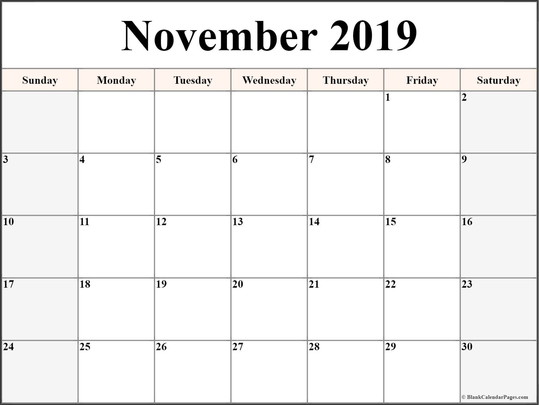 November 2019 Calendar | Free Printable Monthly Calendars