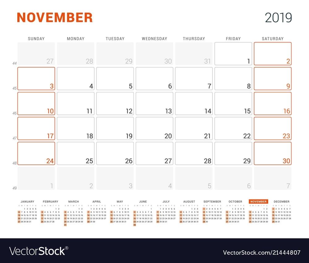 November 2019 Calendar Planner For 2019 Year