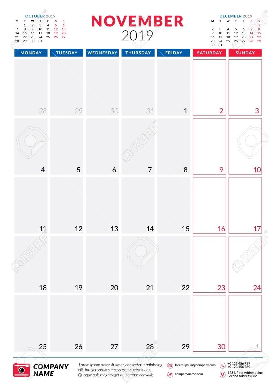 November 2019. Calendar Planner Stationery Design Template. Portrait..