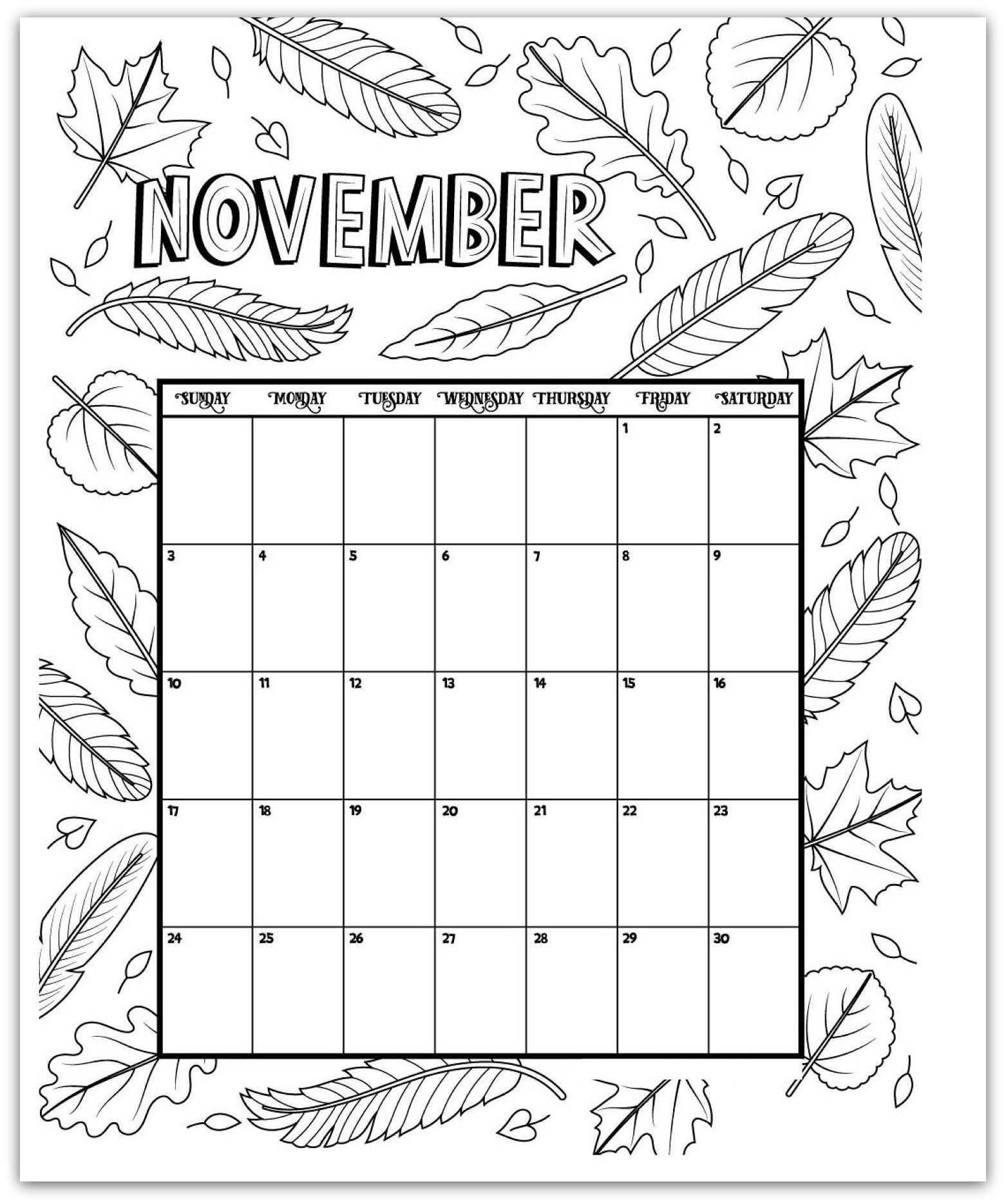 November 2019 Coloring Page Printable Calendar | Kids