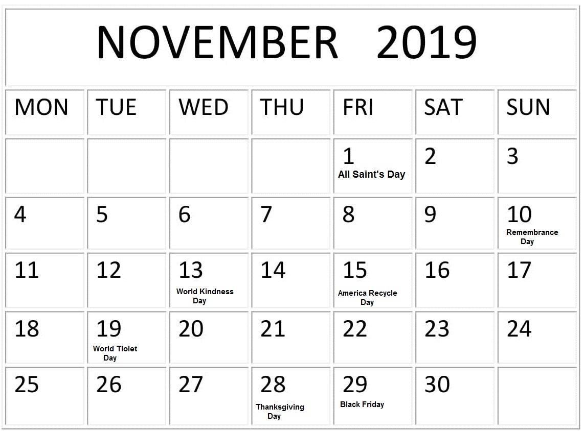 November 2019 Google Calendar With Holidays – Free Latest