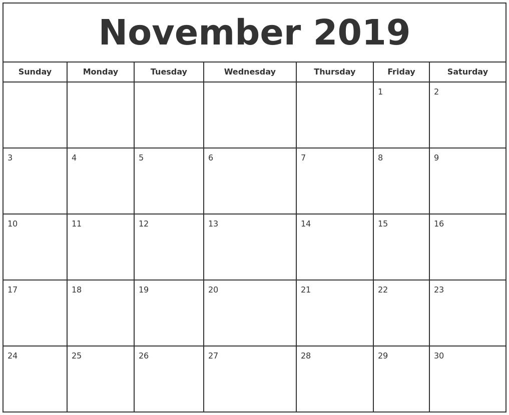November 2019 Print Free Calendar