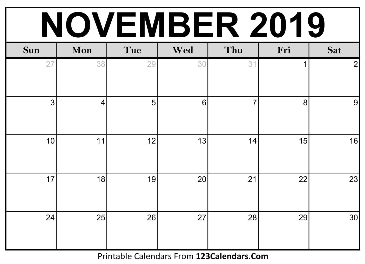 November 2019 Printable Calendar | 123Calendars
