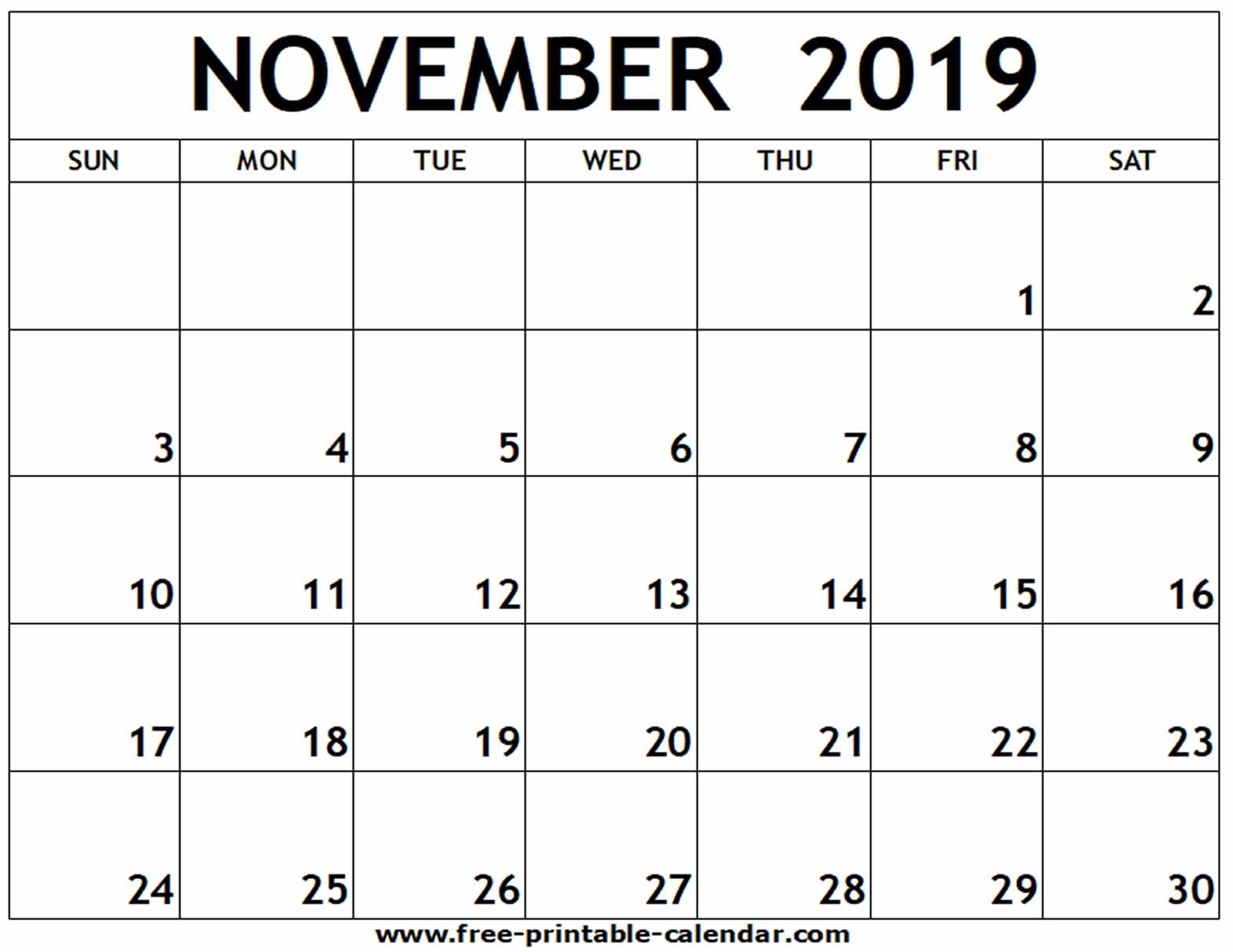 November 2019 Printable Calendar - Free-Printable-Calendar