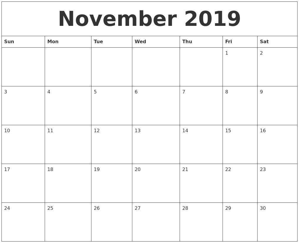 November 2019 Printable Calendar Free