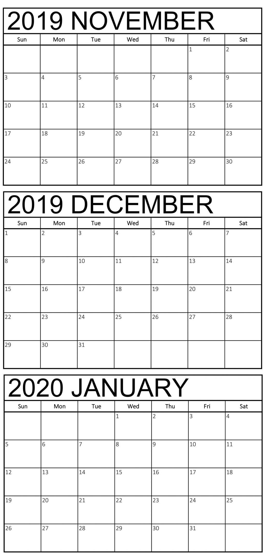 November 2019 To January 2020 Calendar Template | Free