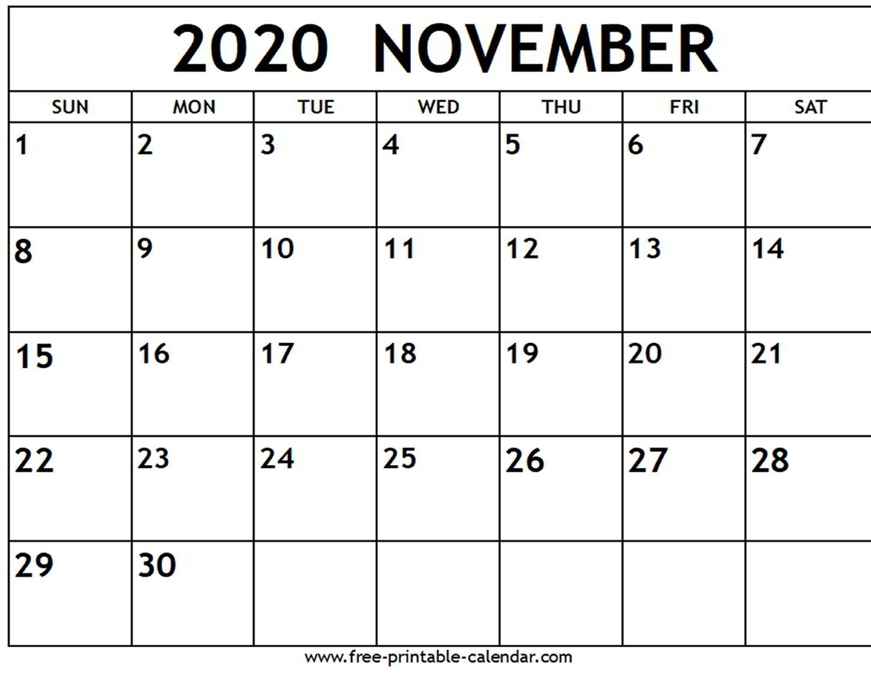 November 2020 Calendar - Free-Printable-Calendar