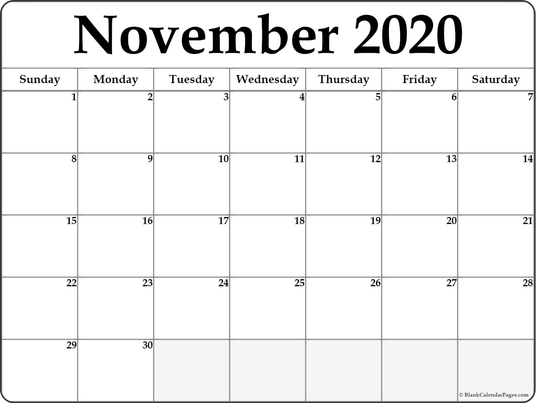 November 2020 Calendar | Free Printable Monthly Calendars