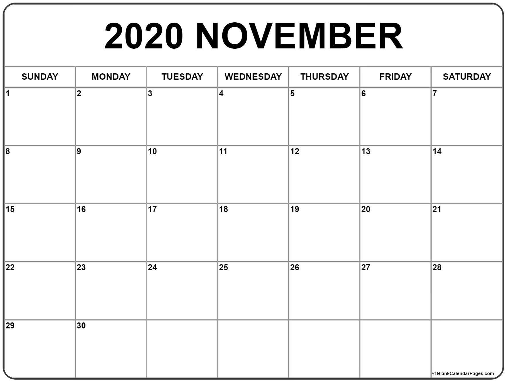 November 2020 Calendar   Free Printable Monthly Calendars