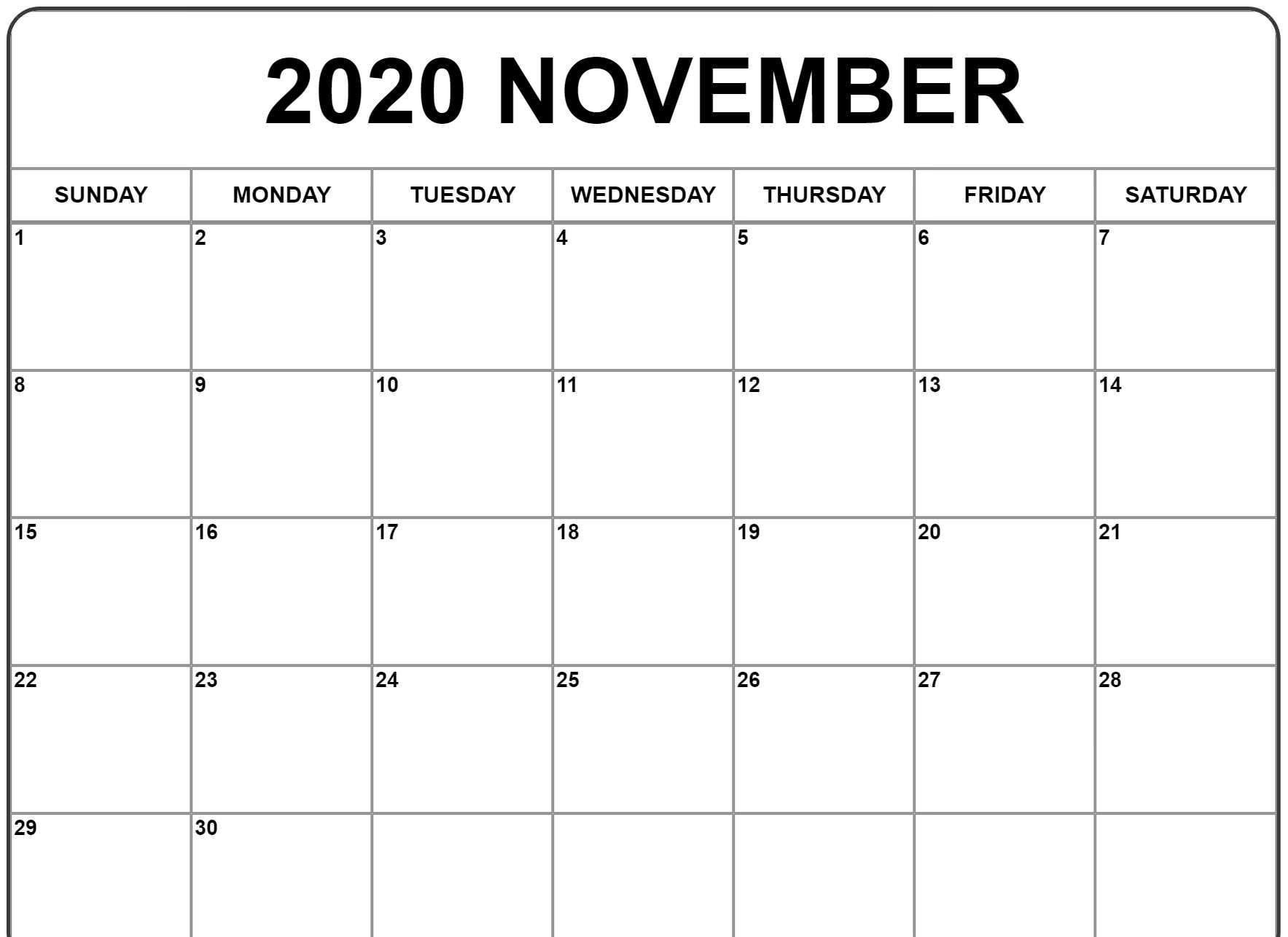 November 2020 Calendar | Monthly Calendar Template, Free