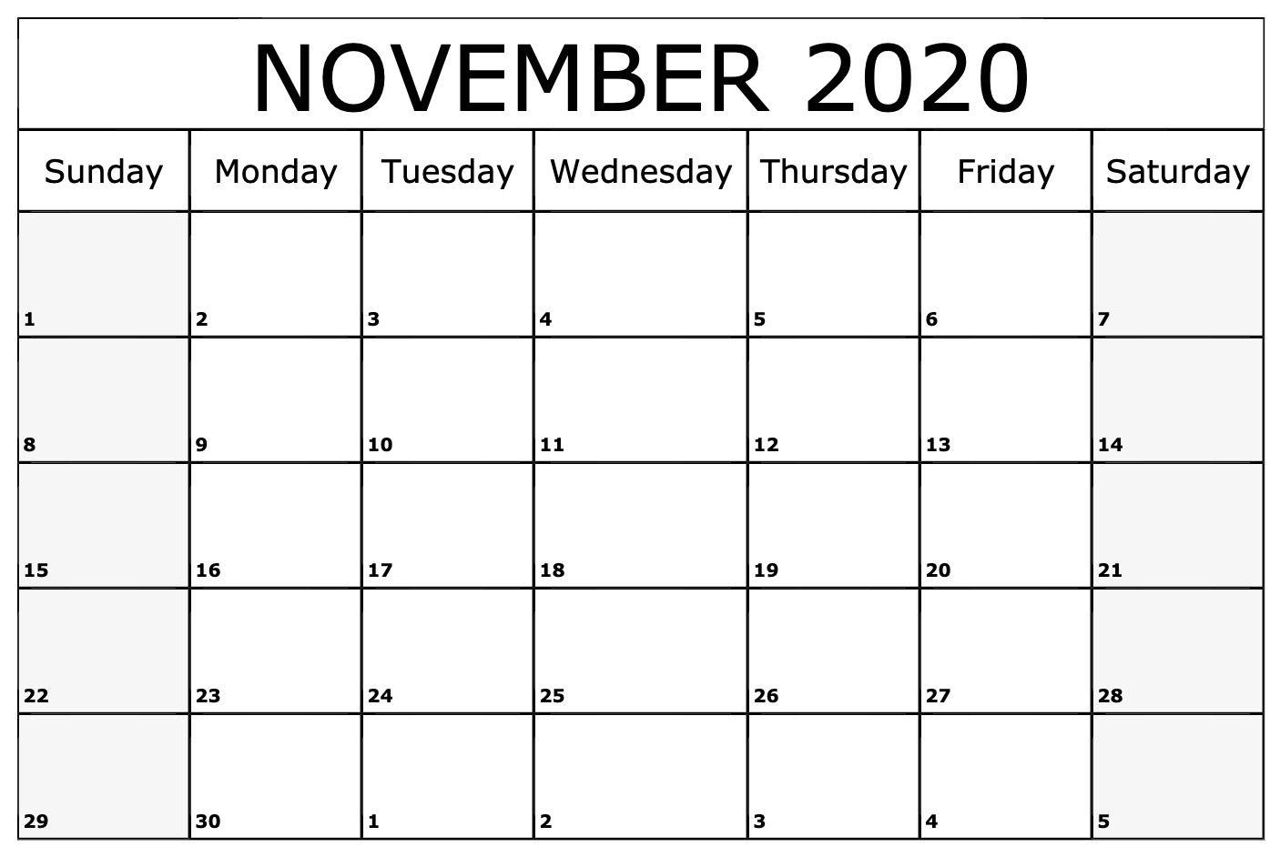 November 2020 Calendar Printable Template   Printable