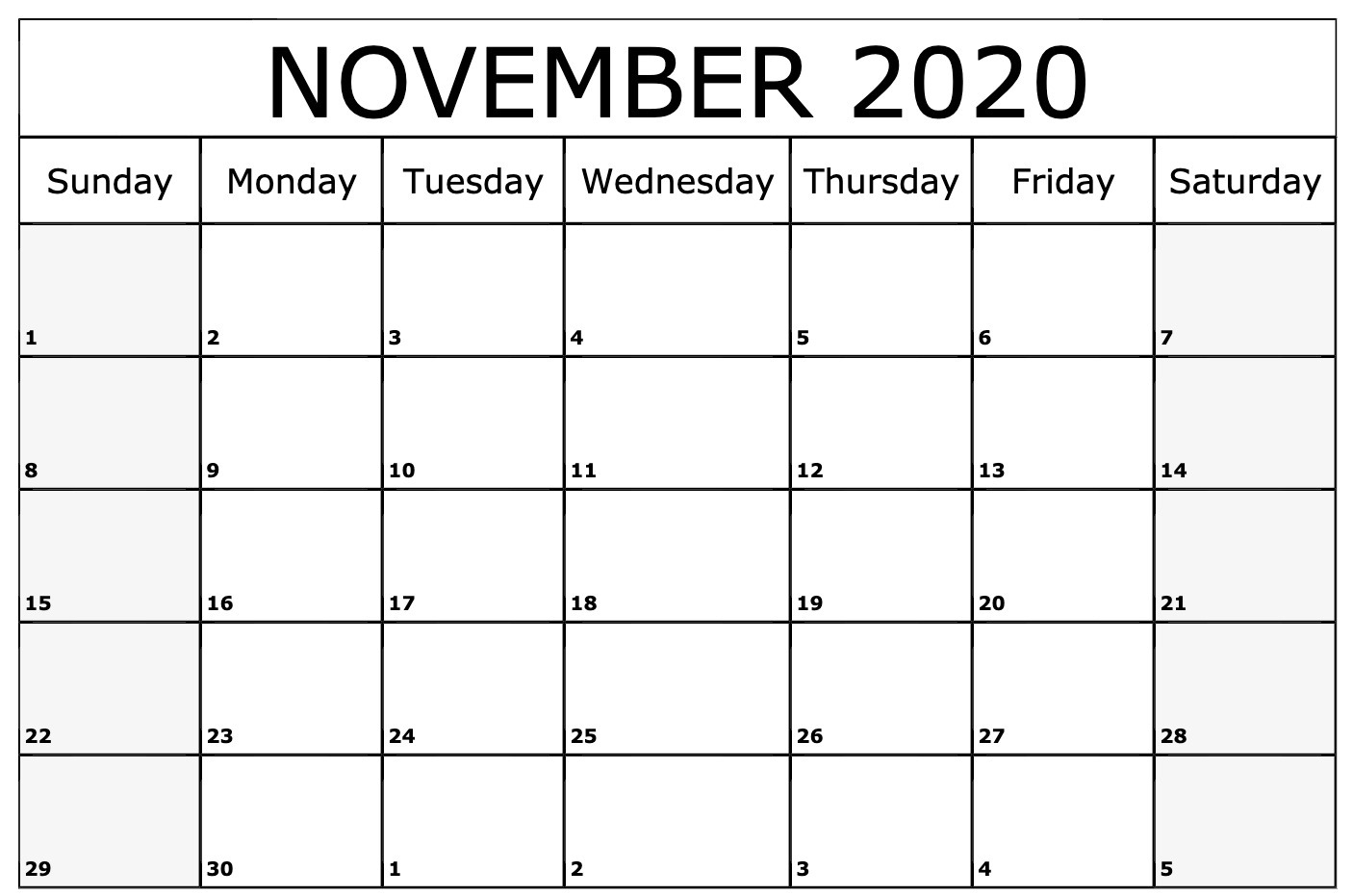 November 2020 Calendar Printable Template With Holidays