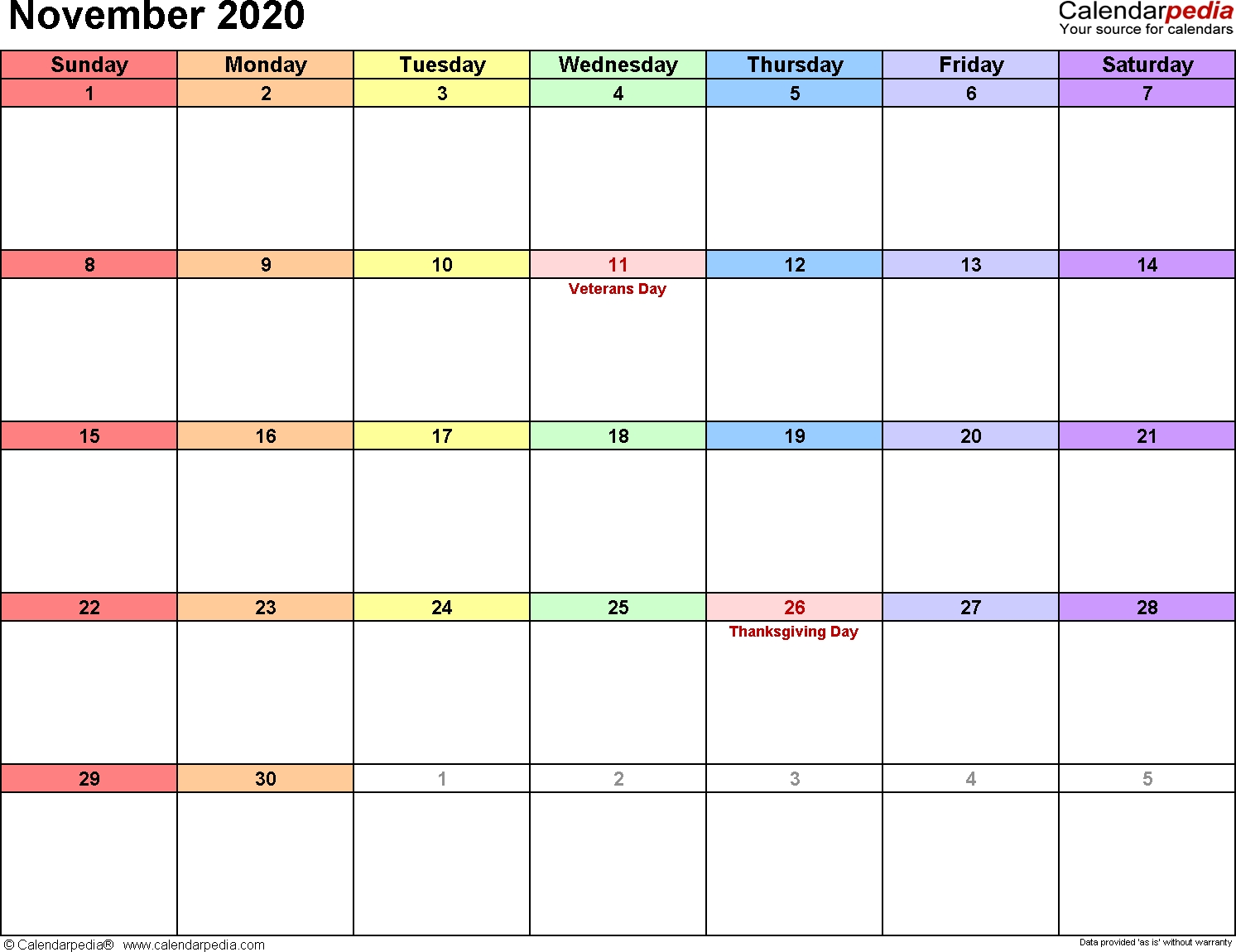 November 2020 Calendars For Word, Excel & Pdf