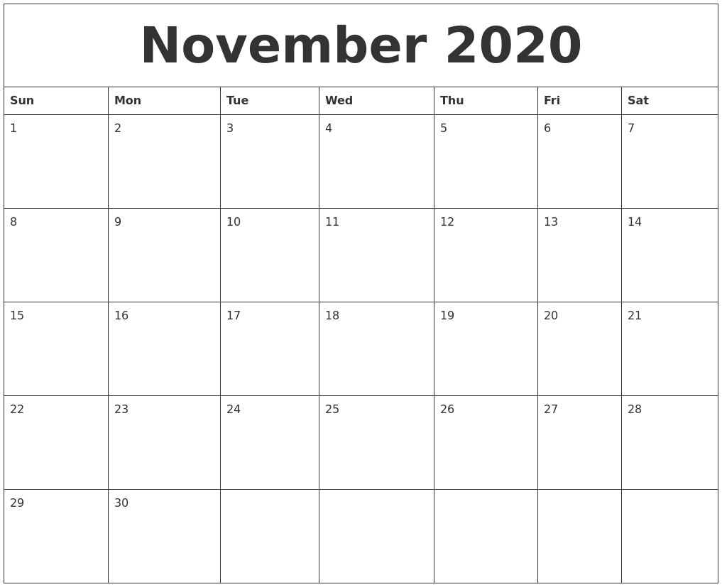 November 2020 Online Printable Calendar