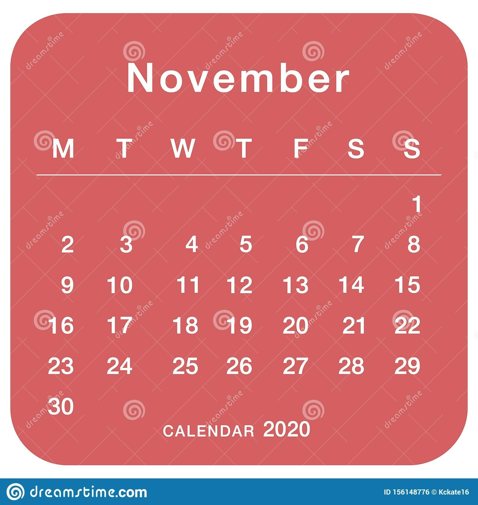 November 2020 Planning Calendar . Simple November 2020