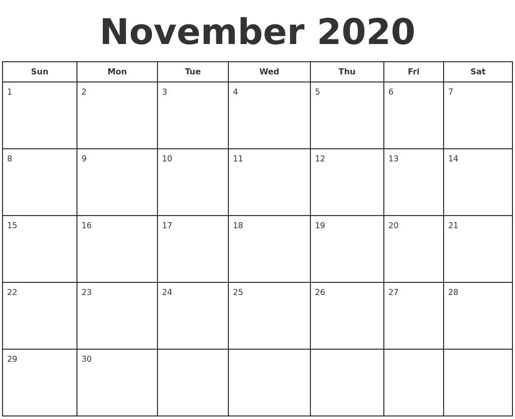 November 2020 Print A Calendar
