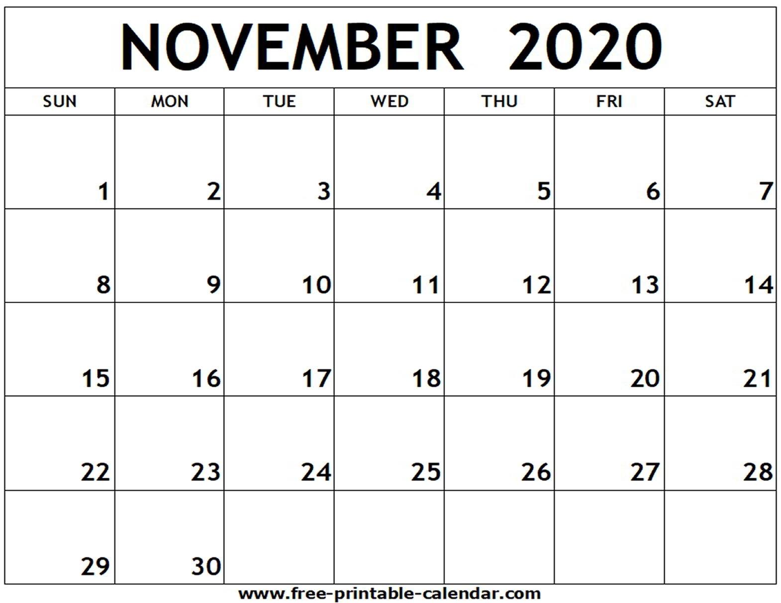 November 2020 Printable Calendar - Free-Printable-Calendar