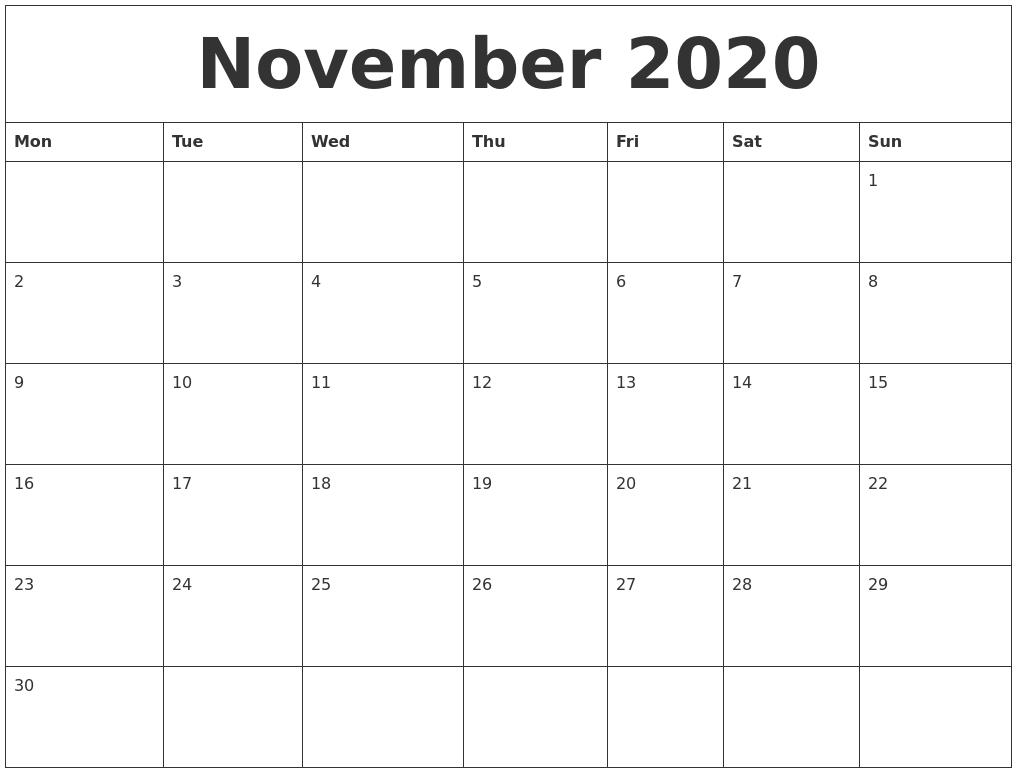 November 2020 Word Calendar