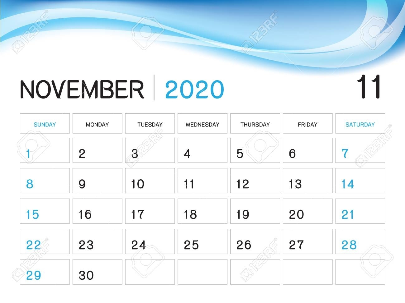 November 2020 Year Template, Calendar 2020 Vector, Desk Calendar..