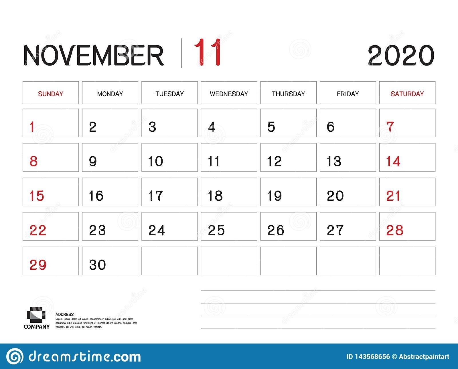 November 2020 Year Template, Calendar 2020 Vector, Desk