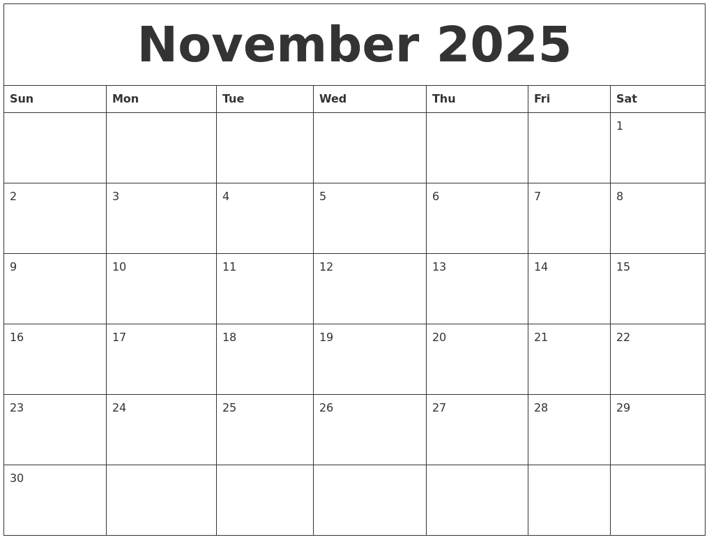 November 2025 Make A Calendar Free