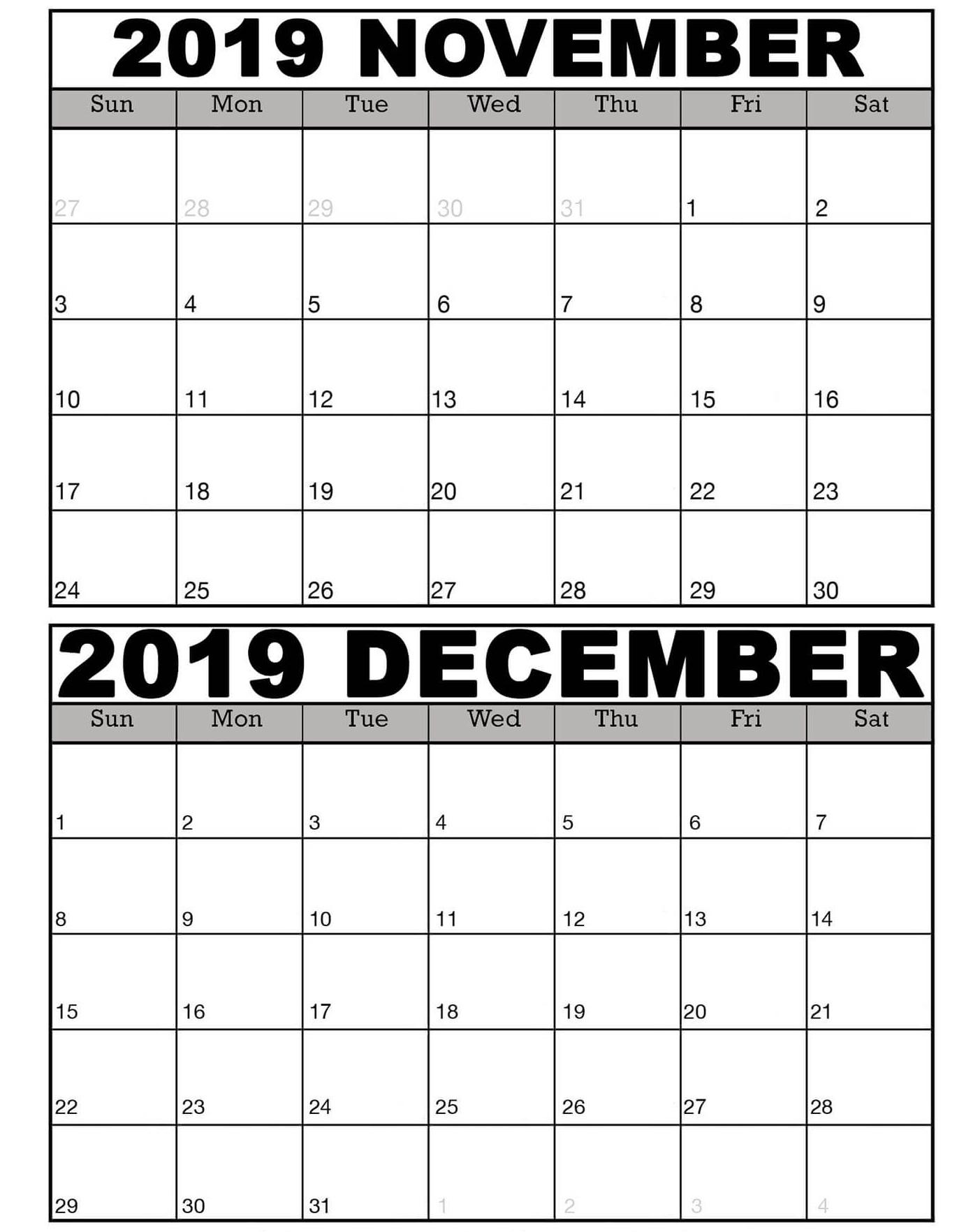 November And December 2019 Calendar Template - 2019