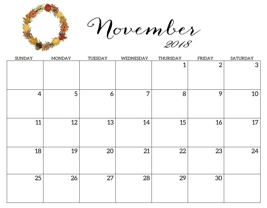 November Calendar Events 2018 Free Download #calendar