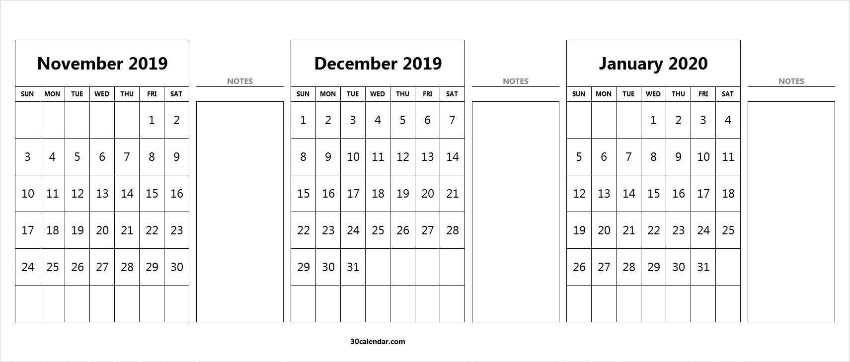 November-December-2019-January-3-Month-2020-Calendar - 30