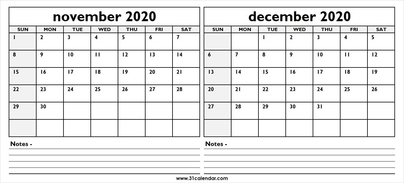 November December 2020 Calendar | Two Month 31 Calendar Template