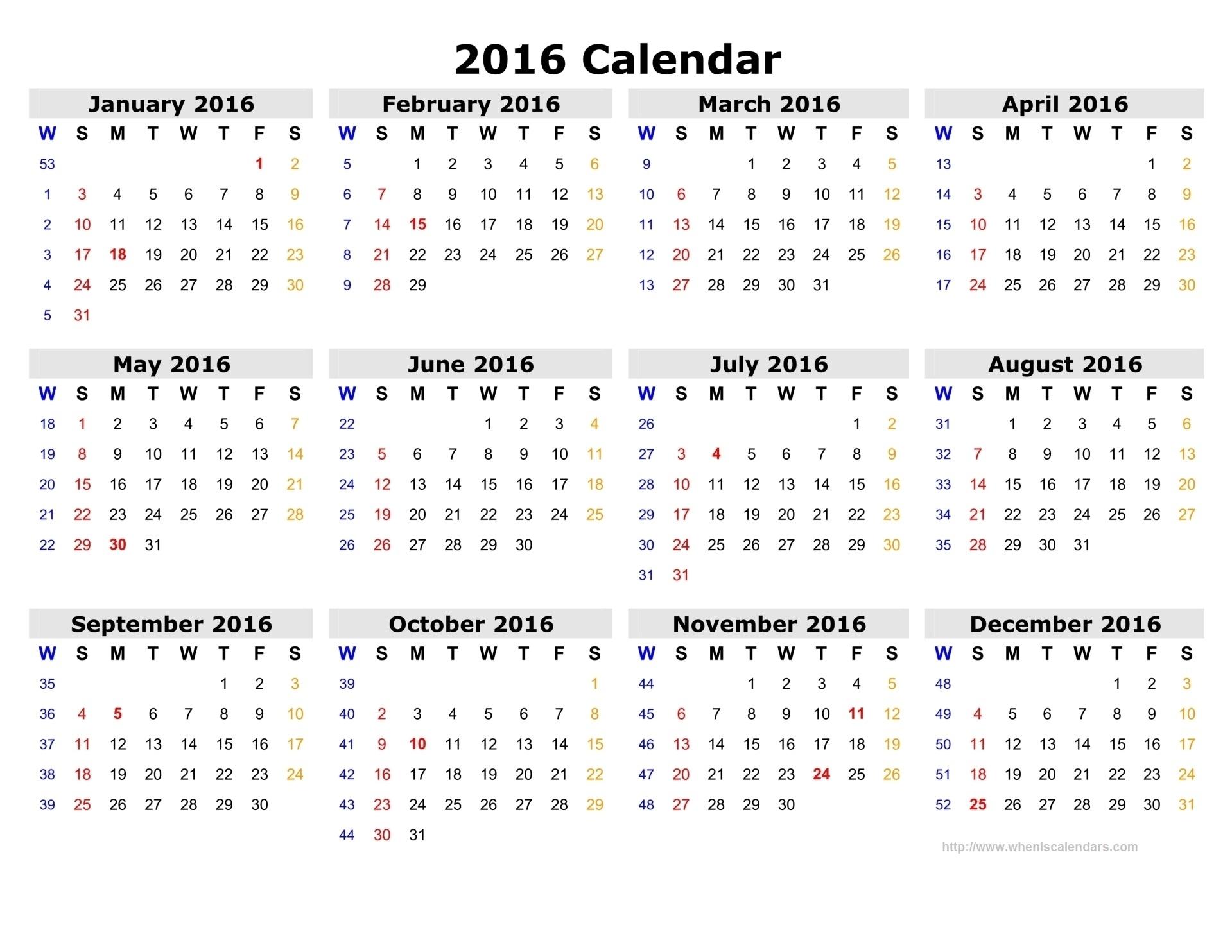 Number Calendar 2016 | Calendar Template 2019