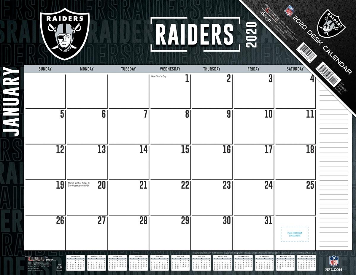 Oakland Raiders 2020 Nfl 22 X 17 Desk Calendar - Buy At Khc Sports