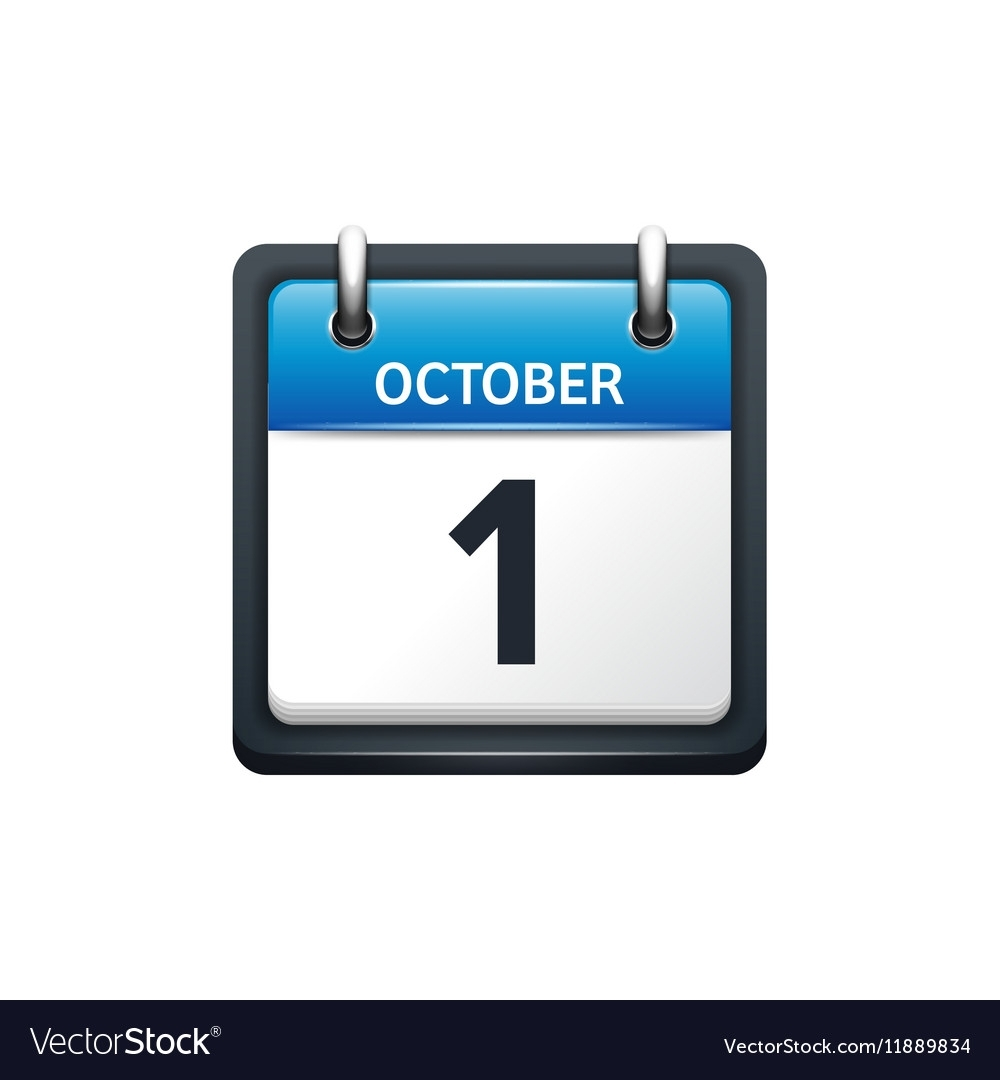 October 1 Calendar Icon Flat